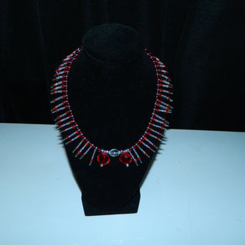 Safety Pin, Statement Choker Style Necklace, Red and Clear Glass Seed Beads