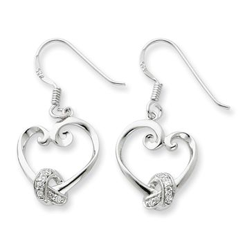 Rhodium Plated Sterling Silver & CZ Love knots Heart Earrings, 14x30mm