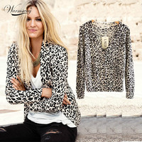 Women's Spring And Autumn Fashion Sexy Leopard Cardigan Sweater Slim Knitted Cardigan Jacket Outerwear WS-015