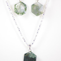 Moss Agate Necklace Set, Hexagon Earrings, Hexagon Necklace, Moss agate Jewelry, December Gift, Green Stone Jewelry, Virgo gifts
