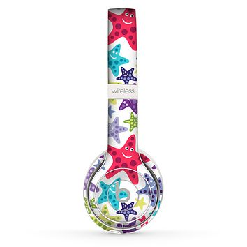 The Smiley Faced Vector Colored Starfish Pattern Skin Set for the Beats by Dre Solo 2 Wireless Headphones