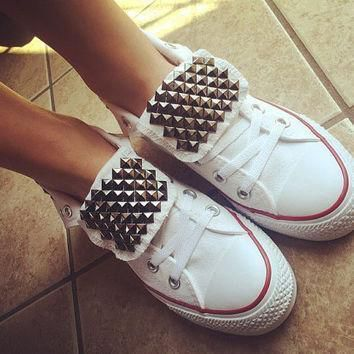 custom studded white converse all star high tops chuck taylors all sizes colors wed