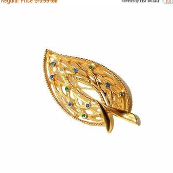 "SALE Vintage Rhinestone Leaf Brooch, Gold Tone Blue & Green Rhinestone Brooch, 1960s signed ""Traditional"" Gold Leaf Pin."