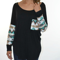 SZ MEDIUM Havana Nights Black Tribal Sequin Sleeve Pocket Top