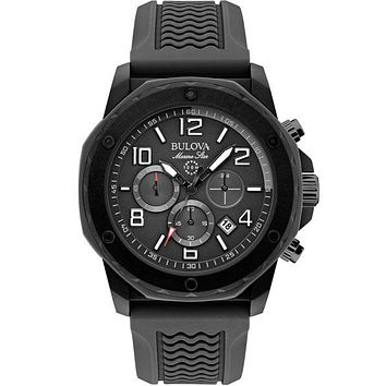 Bulova Mens Marine Star Chronograph - Black Duramic Case - Rubber Strap