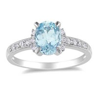 Oval Aquamarine and Diamond Accent Engagement Ring in Sterling Silver