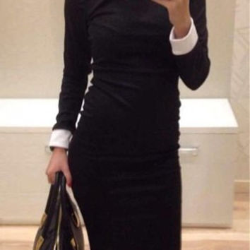 Contrast Collar Long Sleeve Midi Dress