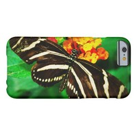 Chic, cute black and white striped butterfly photo barely there iPhone 6 case