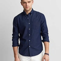 AEO MicroStripe Button Down Shirt, Navy