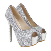Rhinestone Thin High Heel Peep-toe Thick Sole Platform Paillette Women Thin Shoes  silver
