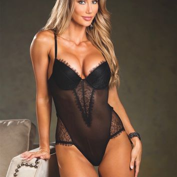 Sheer Lace and Mesh Teddy Lingerie