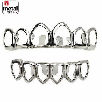 Jewelry Kay style Hip Hop Fangs Six Open Face Silver Plated Top & Bottom Teeth  Grillz LS001 6F S