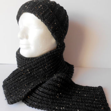 Men's Hat and Scarf Set. Knit Scarf and Hat. Men's black scarf. Unique Gift for Him. Christmas Gift. Ready to Ship. Winter accessory.