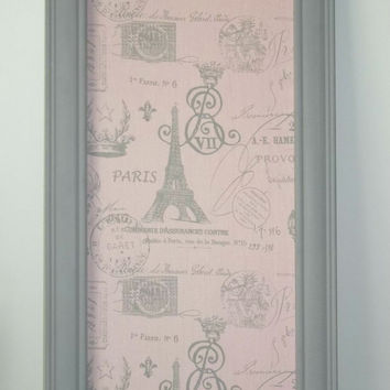 Framed Magnetic Memo Board - Pink French Stamp Fabric