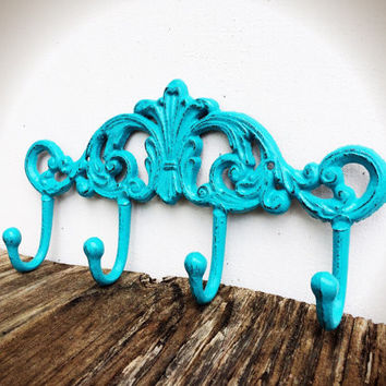 Turquoise Aqua Blue Ornate Multi Wall Hook - Shabby Chic Rustic French Country Vintage