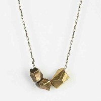 Cold Picnic Talking Rocks Charm Necklace- Gold One