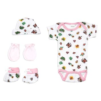 Bambini Newborn Baby Girls 4 Pc Layette Baby Shower Gift Set  - Made in USA