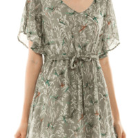 Frolic into a fun springtime look with the Rise Above Hummingbird Print Chiffon Dress. Featuring charming hummingbirds, plants and floral print throughout, an oval neckline, chiffon fabrication, slit open short butterfly sleeves, fully lining, self tie adj