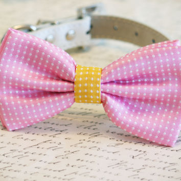 Polka dots Pink Dog Bow Tie, Pink and Yellow bow, Pet wedding accessory