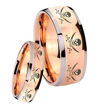 His Hers Rose Gold Dome Multiple Skull Pirate Two Tone Tungsten Wedding Rings Set