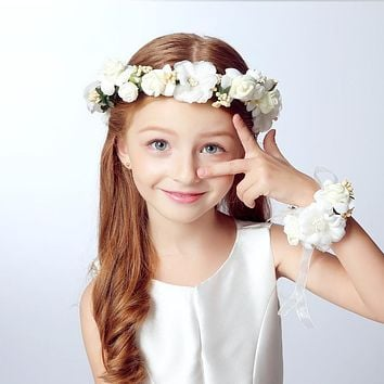 Wreath Girl Head Flower Crown Bridal Hair Accessories Artificial Flower  Head Wreath For Hair Wedding Garland 635c6d70f26