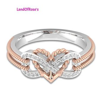 Anchor Rope Letter 8 Engagement Double Color Heart-shaped Infinity AAA Cubic Zirconia Wedding Rings
