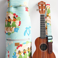 Soprano ukulele case & strap / hula girl light blue / ukulele soft case / gig bag / hawaiian fabric / tropical / surfboard / instrument case