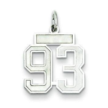 Sterling Silver Small Satin Number 93 QPS93