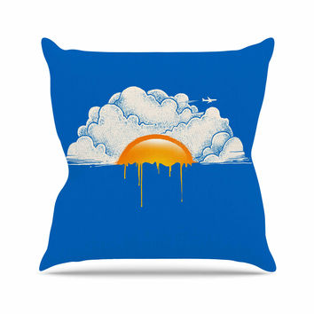 "Digital Carbine ""Breakfast"" Blue Food Throw Pillow"
