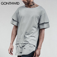 Ripped Curved Hem T Shirts Men Hip Hop Double Layer Holes Extended T shirts Summer Short Sleeve Cotton Tees Streetwear
