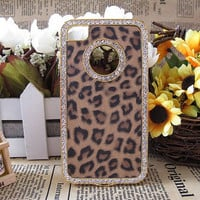 leopard iphone case iphone Bling cases crystal iphone 4 case iphone 5 Bling rhinestone iphone 4 cover iphone hard case 4s