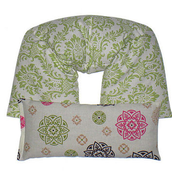 REMOVABLE COVER Neck & Shoulder Wrap - Eye Pillow Gift Set Ice Pack Flaxseed UNSCENTED (Sage) Green Damask.Pink, Brown Medallion