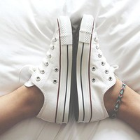 Converse Fashion Canvas Flats Sneakers Sport Shoes Low tops White