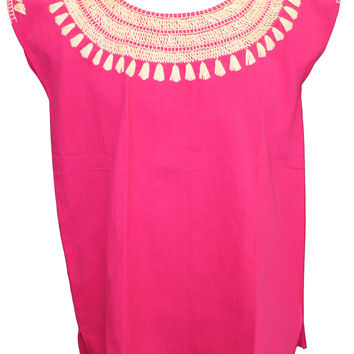 Mexican Peasant Stitched Blouse - Fuchsia