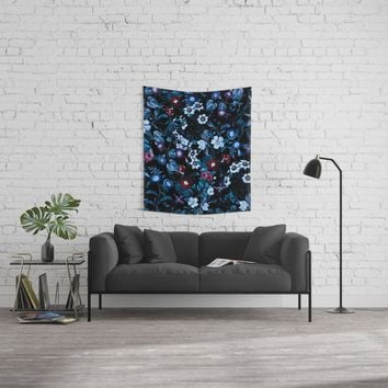 Night Garden XXXII Wall Tapestry by burcukorkmazyurek
