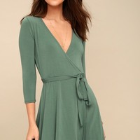 Twirl-Worthy Sage Green Wrap Dress
