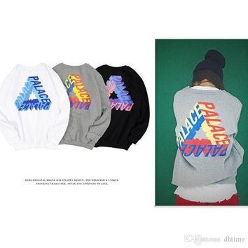 PALACE P-3D LONG SLEEVE Stereo Gradient Triangular Letter Print Loose Skateboards Hoodies Men Women Hip Hop Sweatshirt White Hombre