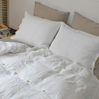 Duvet Covers Soft Washed Linen with Shell Button Closure