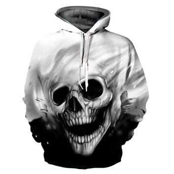 Fading Black And White Metallic Skull All Over Print Hoodie Sweater