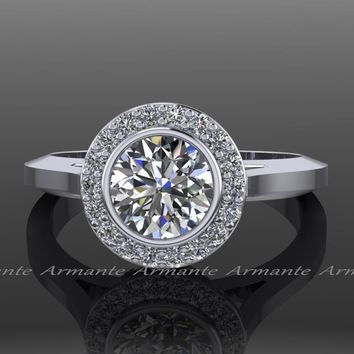 Halo Moissanite Engagement Ring Vintage Style Ring