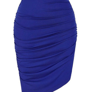 Womens Pencil 50s style asymmetrical skirt Occident Solid Color High Stretchy Pleated Skirt Plus Size sexy Bodycon Office