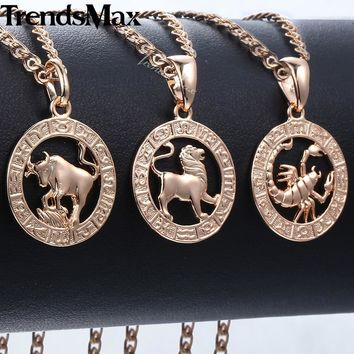 Trendsmax 12 Zodiac Constellations Pendants Necklaces For Women Men 585 Rose Gold Men Jewelry Fashion Birthday Gifts KGPM16