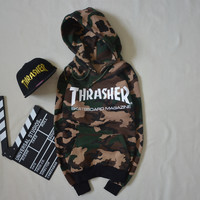 Men's Camouflage Thrasher Long Sleeve Fleece Hip Hop Hoodie