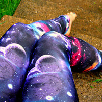 Black Hole Galaxy Nebula Leggings pants Space geek planet lycra