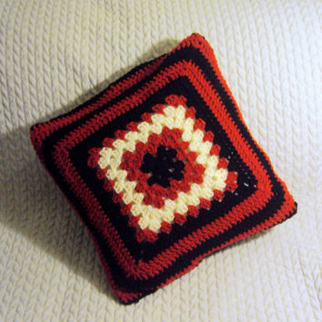 "Traditional Granny Square Cushion Cover Crochet Pillow Cover Afghan Pillow Case Decorative Pillow 16"" x 16"" Housewarming Gift  Made to Order"