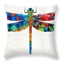 "Colorful Dragonfly Art By Sharon Cummings Throw Pillow 14"" x 14"""