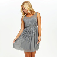 Sweet Glimmer Sequin & Bead Dress In Grey