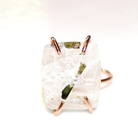 Raw Tourmaline Icy Quartz Ring Green Tourmaline Ring Primitive Jewel Modern Ring Raw Ring Adjustable Ring Tourmaline Jewelry Rose Gold Ring