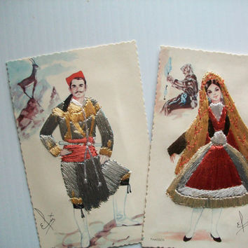 vintage art cards . vintage Grecian post cards with embroidery . vintage post cards . vintage textile art cards . vintage couple Greece card