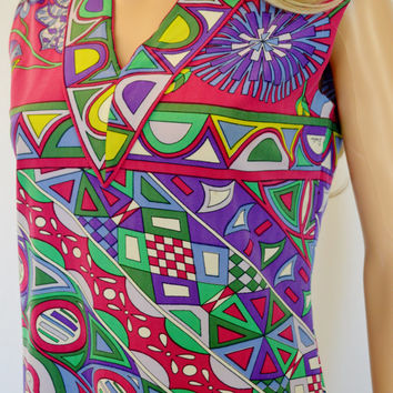 Vintage 1960's EMILIO PUCCI MoD PsYcHeDeLiC Op ArT OpTiC FLoWeR Silk Couture Dress M 12